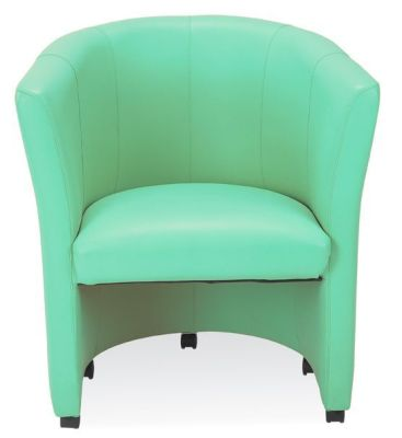 Club Tub Chair In Bright Green Faux Leather With Castors