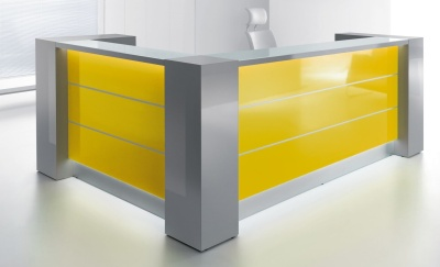 Valde L Shaped Reception Desk With Illuminated High Gloss Yellow Fronts