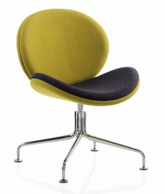 Giggler Waiting Room Chair In Yellow And Black Upholstery On Chrome Feet