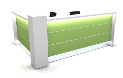 Valde L Shaped Reception Desk With Lime Green High Gloss Illuminated Front Panels