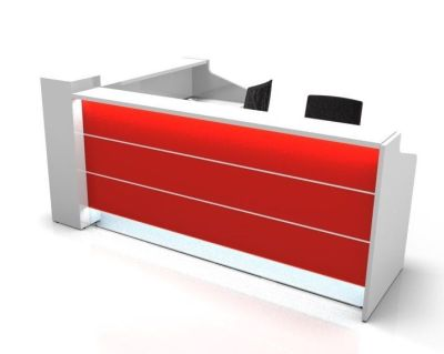 Valde High Gloss Reception Desk With Burgundy Illuminated Fronts