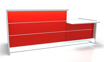 Valde Straight Reception Desk With DDA Access Are And High Gloss Burgundy Fronts