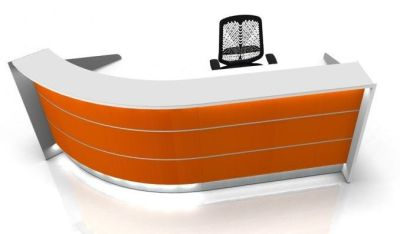 Valde Curved Reception Desk With High Gloss Orange Fronts And In Built Illlumination
