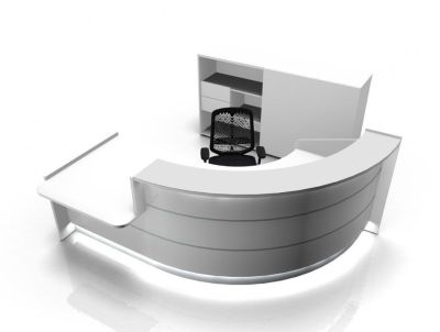 Valde 90 Degree High Gloss White Reception Desk With Wheelchair Access Area