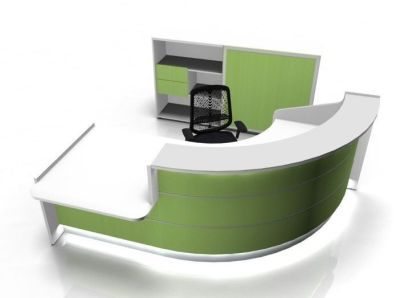 Valde 90 Deugree Curved Reception Desk With Illuminated Green Fronts