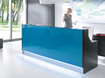 Lx Reception Desk With Dark Turquoise Glass