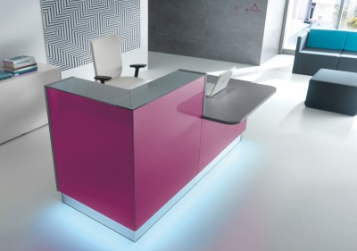 LX Corner Reception Desk In Fuschia Coloured Glass