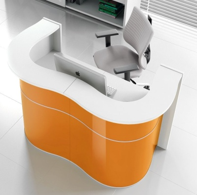 Indulge Reception Desks Orange High Gloss Fronts