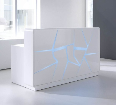 Artic Spash Reception Desk White High Gloss Front