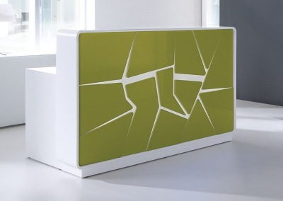 Artic Spash Reception Desk With Lime Green Fronts