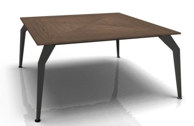 Acti Square Desk With A Walnut Top And Glossy Black Legs