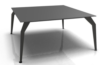 Square Desk Black Glass Top Black Frame