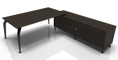 Acti Ebony Desk With Supporting Credenza