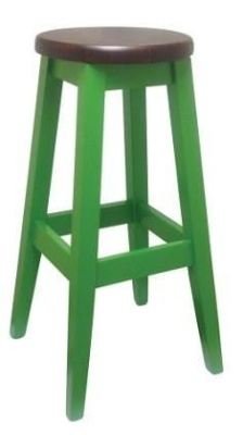 Deli Woooden High Stool Green With Walnut Seat