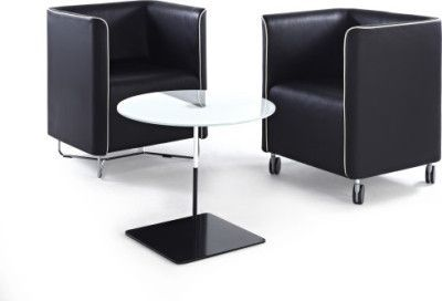 Two Asis Tub Visitor Chairs With High Back And Sides In Faux Black Leather With Coffee Table