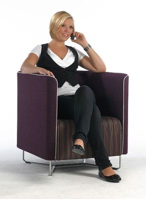 Asis Tub Chair In Aubergine And Stripy Fabric With Wire Base