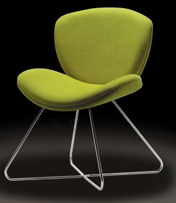Spirit Meeting Chair With Wire Frame Base In Green Fire Retardent Fabric