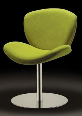 Spirit Lite Reception Chair On Fixed Pedestal In Green Fire Retardent Upholstery