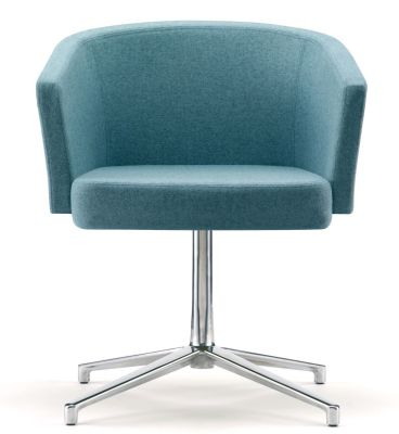 Zone B Conference Chair In Teal Fabric With Aluminium Pedestal With Star Base