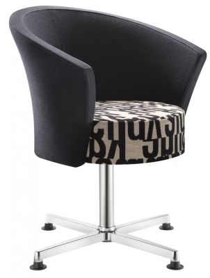 Bobbin Rest Room Designer Chair With Fixed Four Star Base In Polished Aluminium