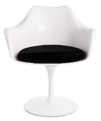 White Tulip Armchair With A Black Cushion
