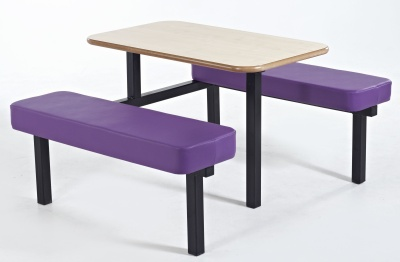 Bench Style Canteen Units With Purple Seats