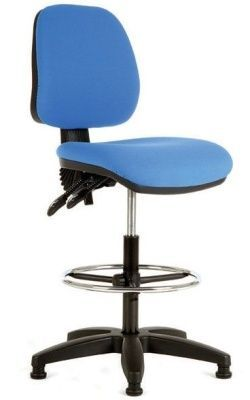 Daisy Checkout Chair With Blue Fabric And Swivel Pedestal
