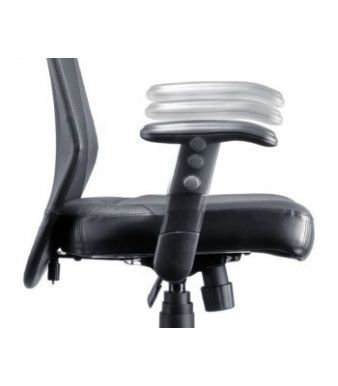 Trimell Mesh Office Chair With Black Leather Seat And Adjustable Arms