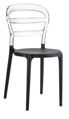 Miss Bibi Bistro Chair Black Seat And Transparent Back Rest