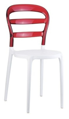 Miss Bibi Bistro Chair White Seat And Red Back
