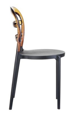 Miss Bibi Bistro Chair Amber And Black Seat Side View