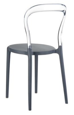 Mr Bobi Bistro Chair Anthracite Seat And Transparent Back