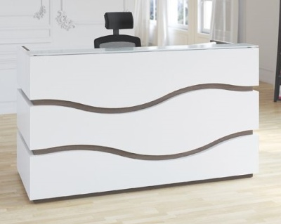 Rivertia Reception Desk With Black Inlay