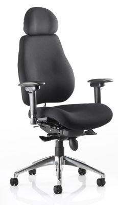 Chiro Plus Ergonomic Chair With A Headrest Black Fabric