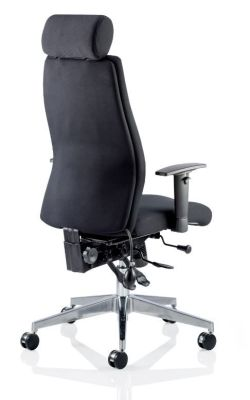 Aztec Black Leather Executive Task Chair With Headrest