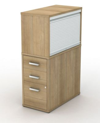 Avalon Plus 800mm Deep Desk Pedestal With Tambour Top Box