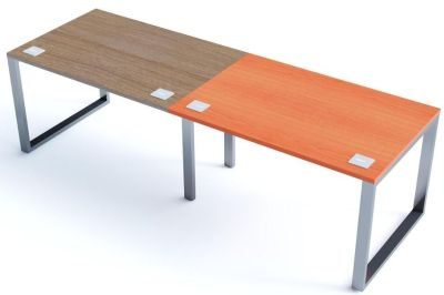 Avalon Plus Two Person Side By Side Bench With Walnut And Champagne Tops
