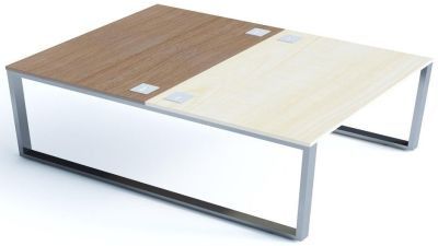 Avalon Plus Two Person Bench Desk With Ash And Walnut Tops