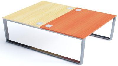 Avalon Plus Two Person Facing Bench Desk With Sliding Maple And Champagne Tops