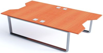 Avalon Plus Two Person Double Wave Desk With Champagne Tops