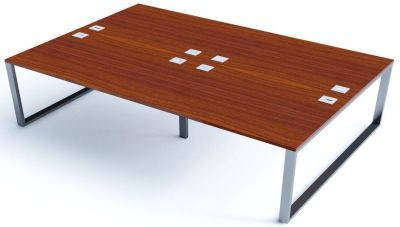 Avalon Plus Four Person Bench Desk With Walnut Tops
