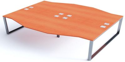 Avalon Four Person Wave Bench Desk With Champagne Tops