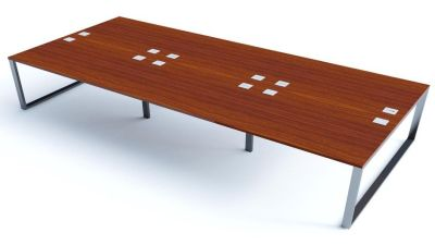 Avalon Plus Six Person Bench With Sliding Walnut Tops