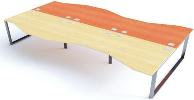 Avalon Plus Six Person Wave Bench Desk With Sliding Champagne And Maple Tops