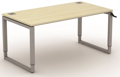 Avalon Plus 800mm Deep Height Adjustable Bench Desk With A Japanese Ash Top