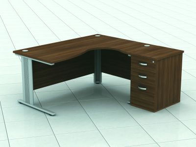 Avalon Corner Desk And Pedestal