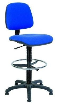 Ronnie Draughtsman Swivel Chair With Blue Upholstery, Gas Lift Adjuster And Fixed Star Base