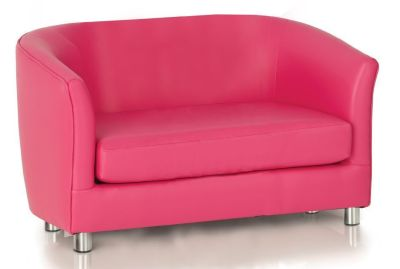 Tritium Faux Leather Sofa In Pink