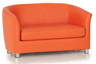 Tritium Orange Faux Leather Sofa