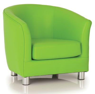 Tritium Lime Green Faux Leather Tub Chair